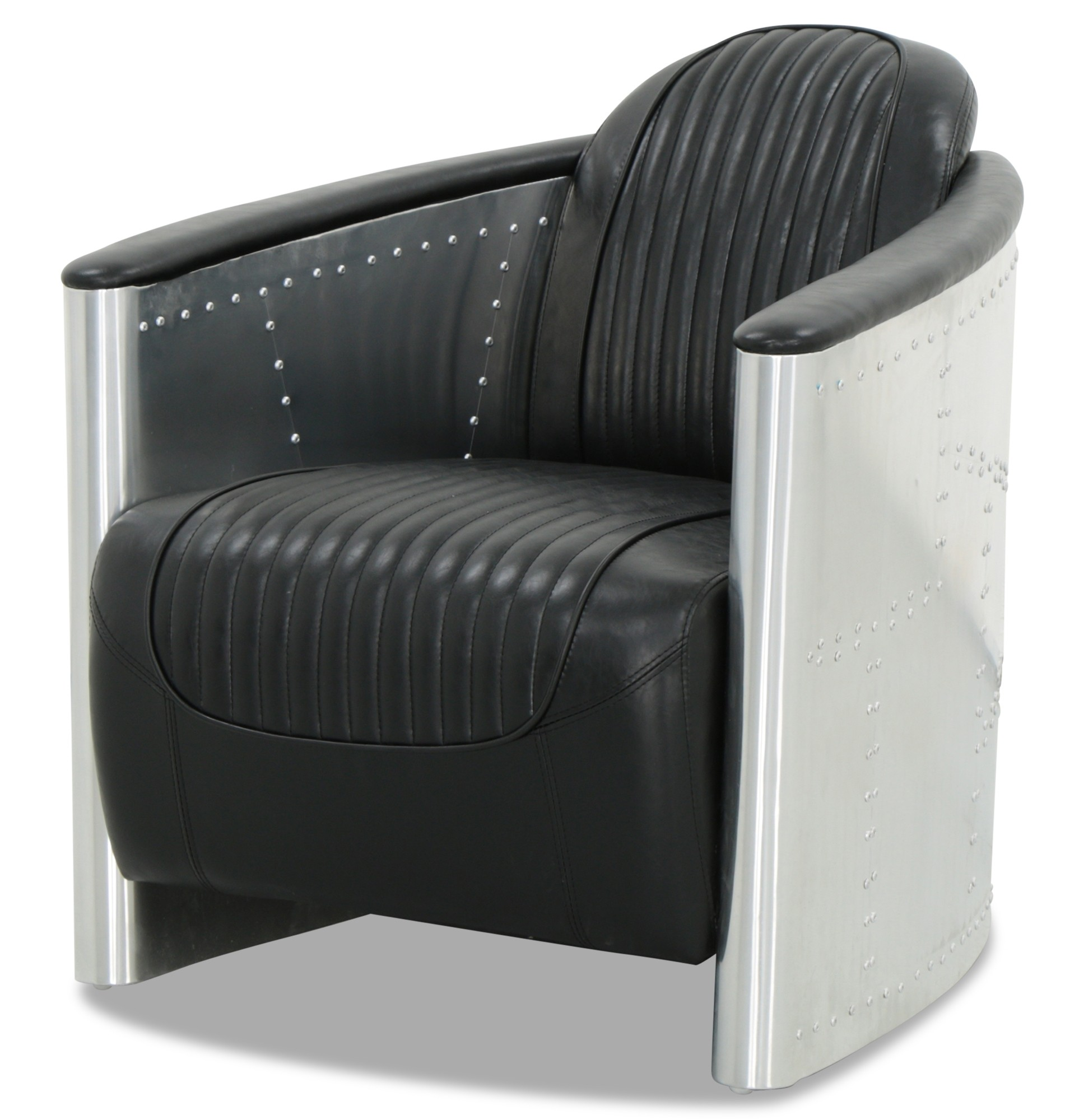 aviator chair replica genuine leather recliner chairs designer arm in black pu