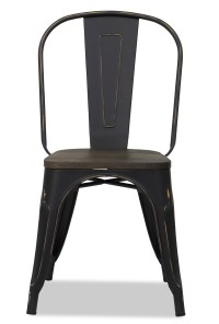 Retro Metal Chair with Wooden Seat in Antique Black ...