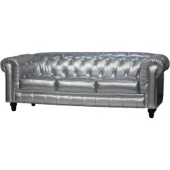 Pu Leather Sofa Reviews Brown Living Room Decor Ideas Benjamin Classical 3 Seater In Silver
