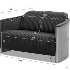 Aviator Chair Replica Boss Black Leatherplus Executive Designer 2 Seater Sofa In Pu Leather