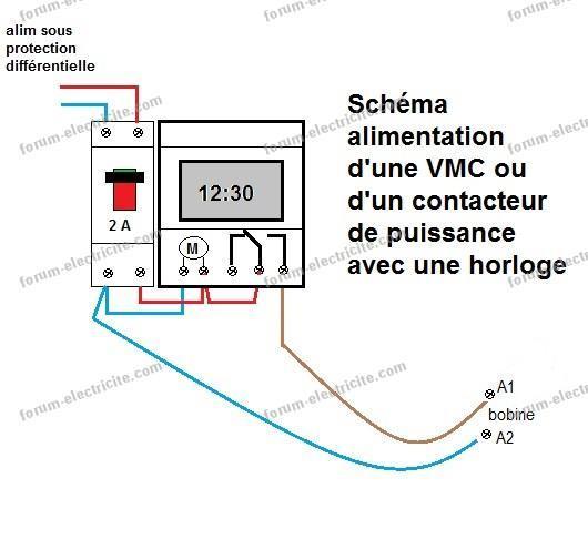 Schéma électrique branchement horloge programmable pour un