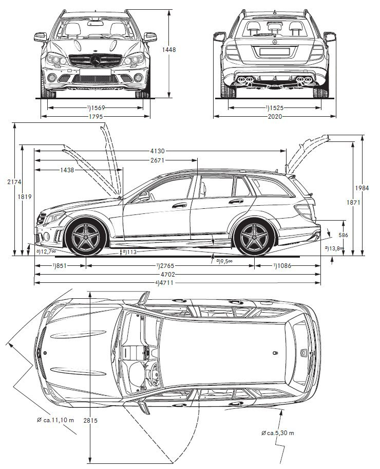 Dimensions Mercedes Classe C. mercedes c class saloon