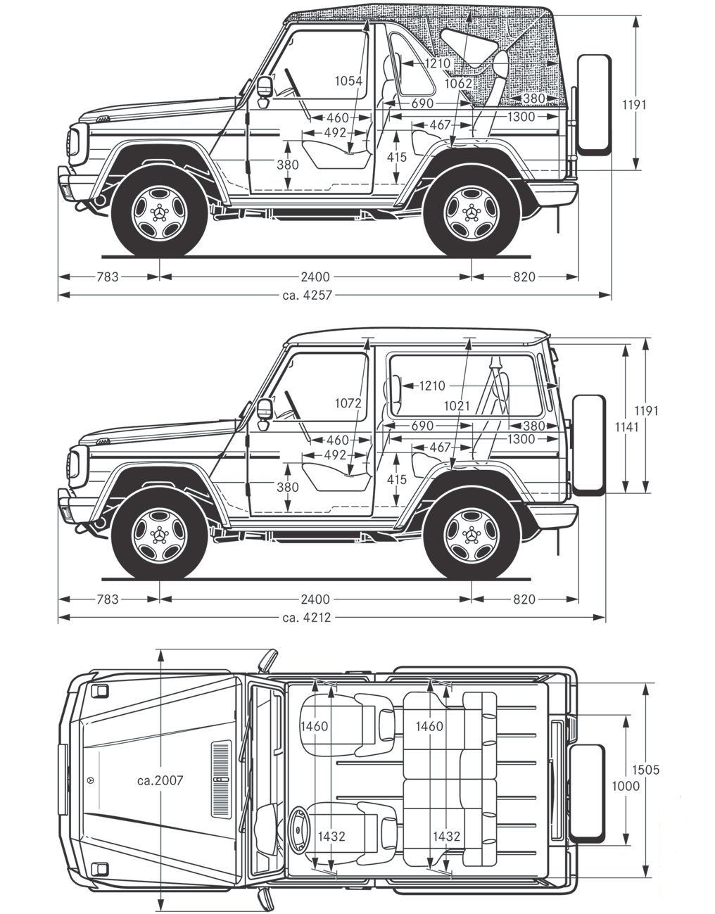 [Mercedes Classe G 463] Dimensions (Page 1) / Classe G 460
