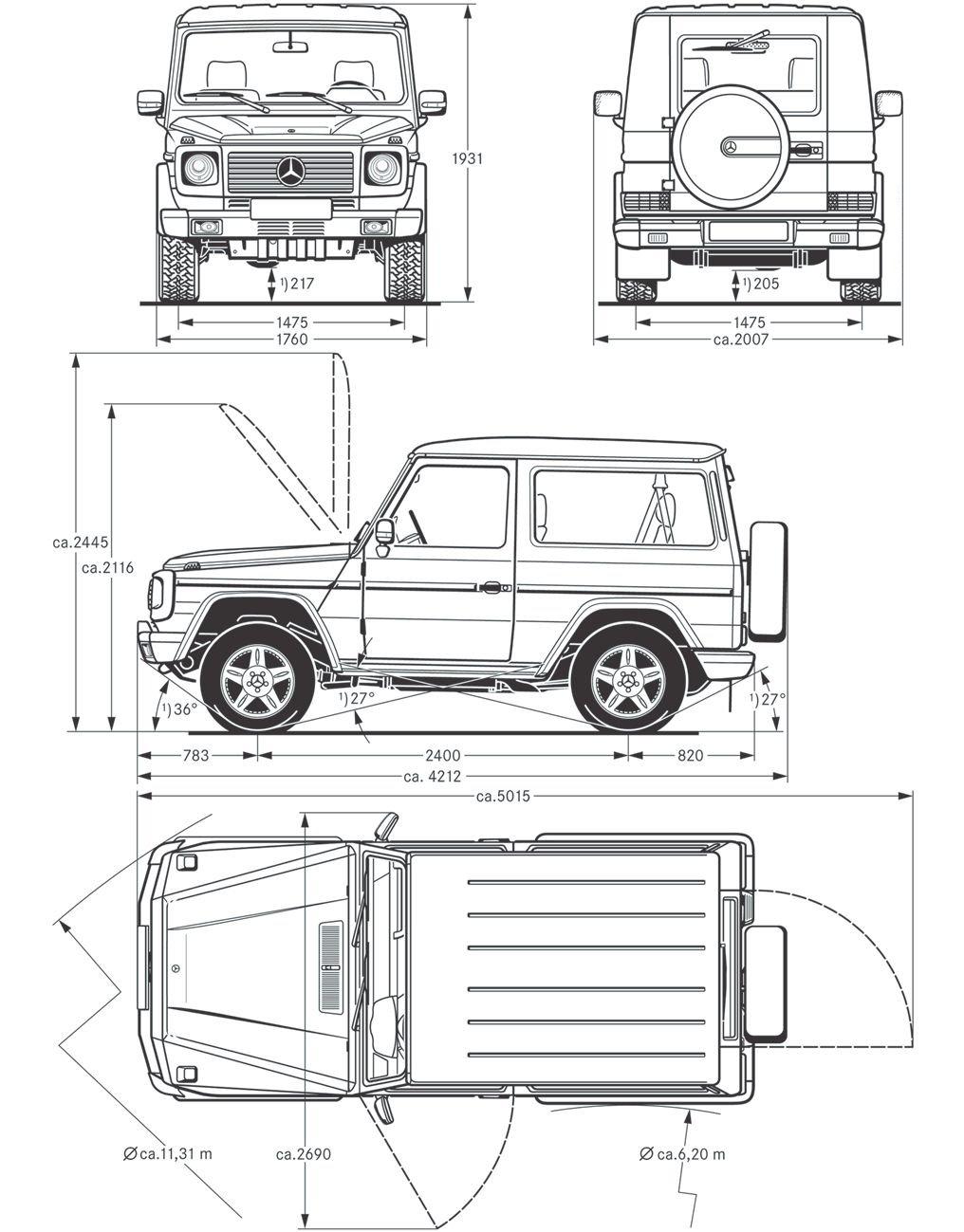 [Mercedes Classe G 463] Dimensions (Page 1) / Classe G 460