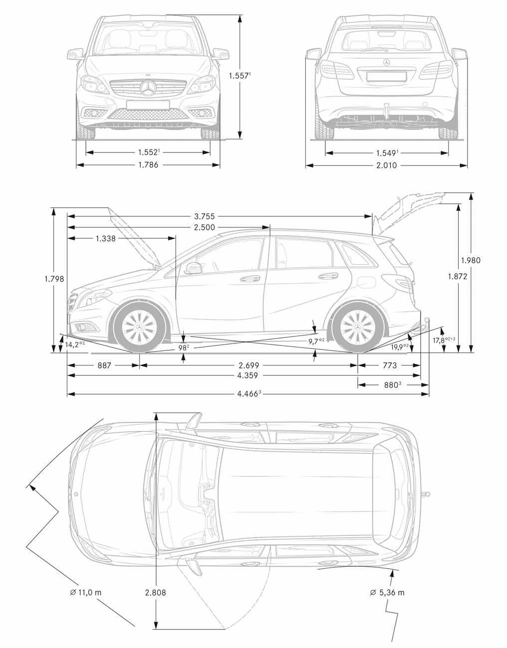 [Classe B W246] Extérieur et dimensions (Page 1) / Classe