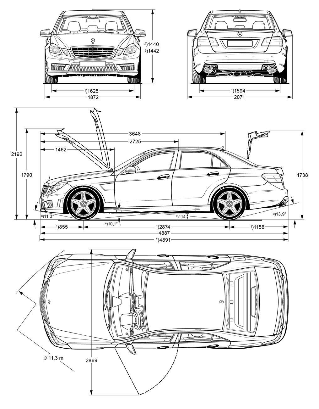 [Classe E 63 AMG W212] Extérieur et dimensions (Page 1