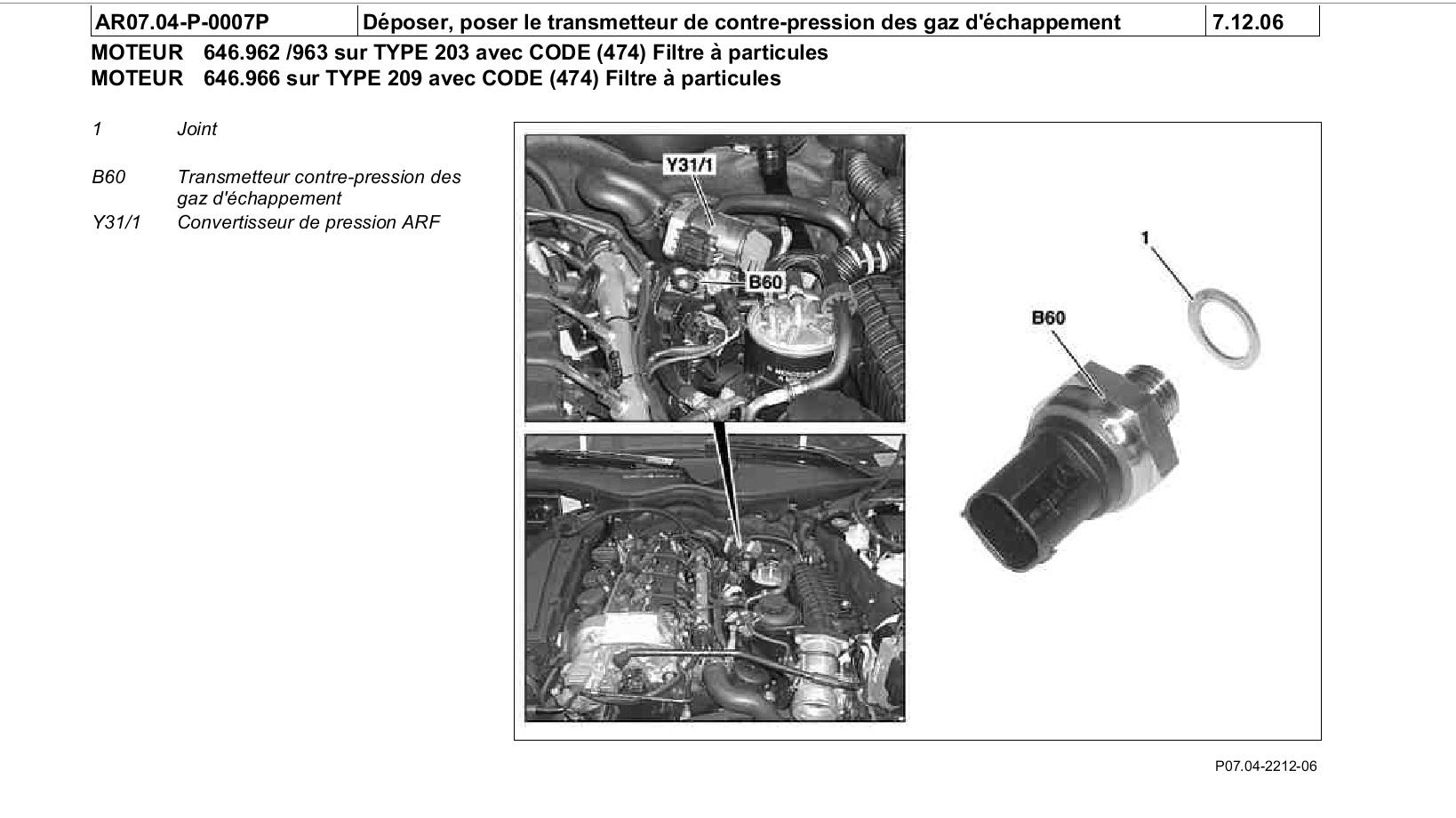 Emplacement capteur de pression gaz d'échappement C220 CDI