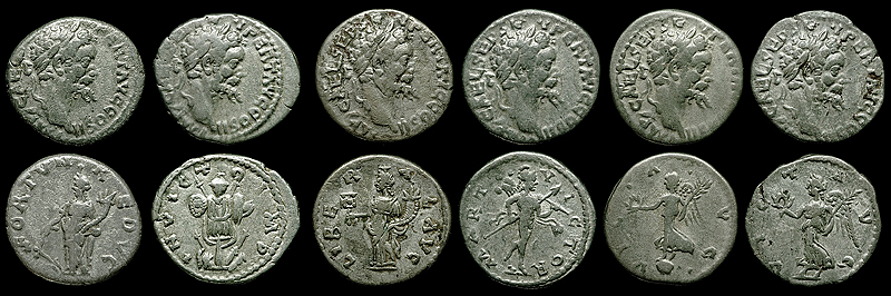 Six denarii of Emperor Septimius Severus, all struck from the same obverse die but different reverse ones, and collected by Doug Smith
