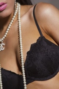 woman with black bra