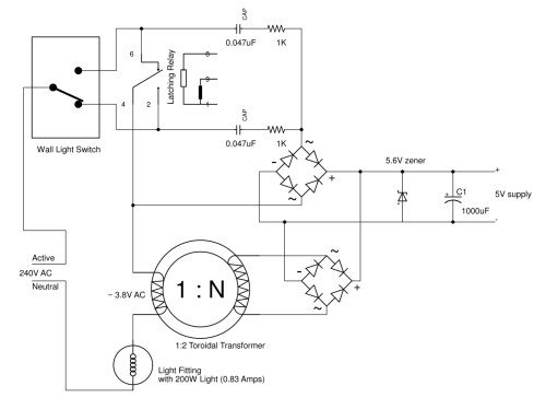 small resolution of the circuit above shows the load off in this state the ble controller is supplied via the 0 047uf and 1k as in the previous circuit