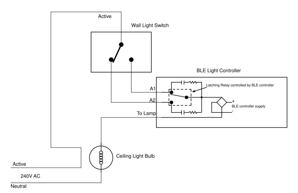 medium resolution of below is the wiring diagram for connecting the ble remote control light switch to the existing wall switch so that both the wall switch and the ble remote