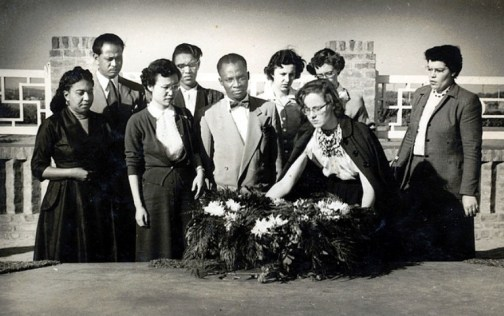 Eleanor Zelliot on first trip to India in 1952, laying a wreath to honor Dr. B. R. Ambedkar