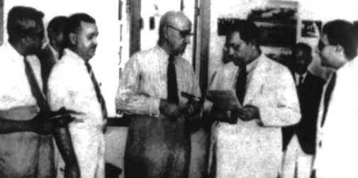 Dr. BR Ambedkar at the inspection of Kolkata Employement Exchange. Seen in the photograph are Bengal's Govt. Labour Commissioner A Huegus and assistant Commissioner S Lal. *** Local Caption *** Dr. BR Ambedkar at the inspection of Kolkata Employement Exchange. Seen in the photograph are Bengal's Govt. Labour Commissioner A Huegus and assistant Commissioner S Lal. Express archive photo