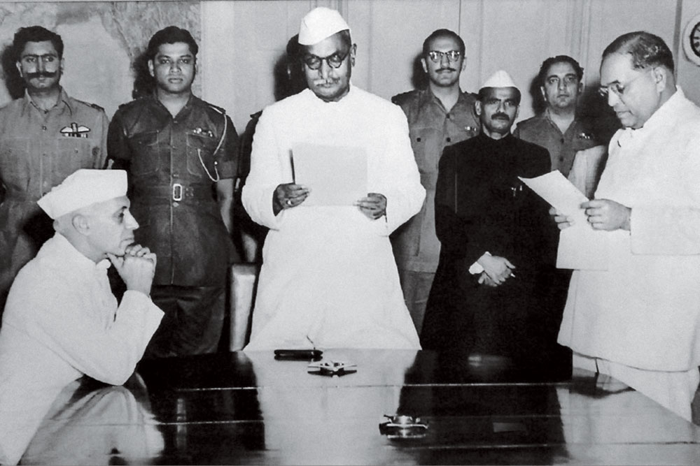 Co-opted: Ambedkar with the Constitution under his arm