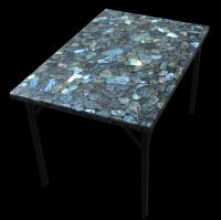 "36 x 24"" Labradorite Coffee Table With Powder Coated Base ..."