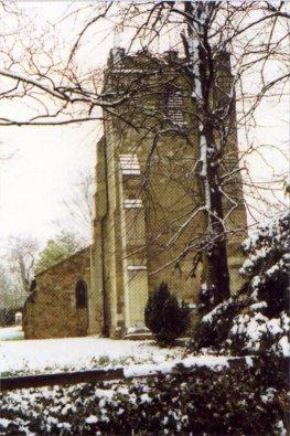 Foston church in the snow