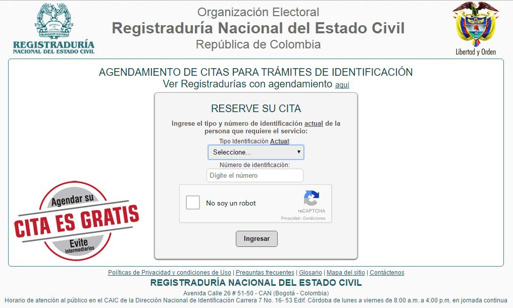 Portal de la registraduría para reservar cita