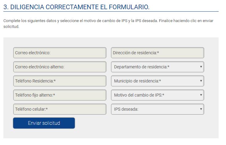 Formulario de solicitud para cambio de ips