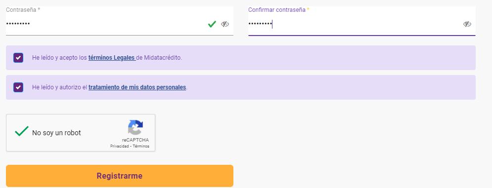 Contraseña registro datacrédito