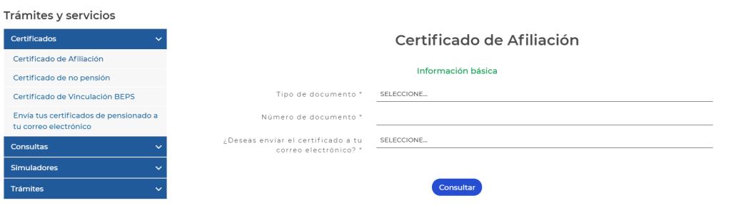 Colpensiones certificado afiliación