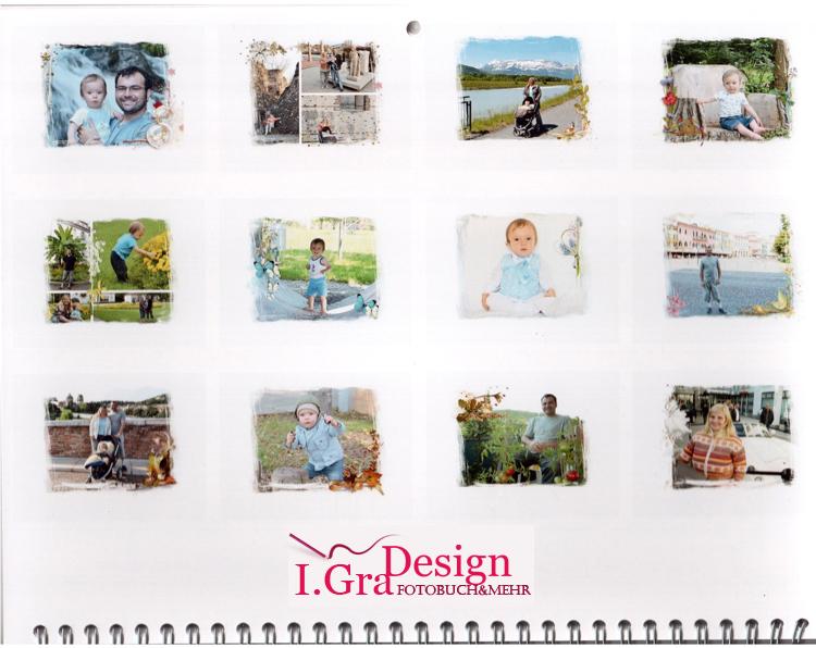 Fotokalender in Scrapbooking Design mit Ihre Bilder