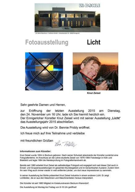 """Ausstellung """"Licht"""" bei L.B. Bohle"""