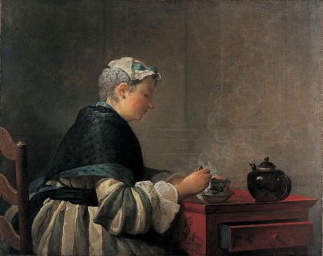 Jean-Siméon Chardin, Lady taking Tea, 1735.