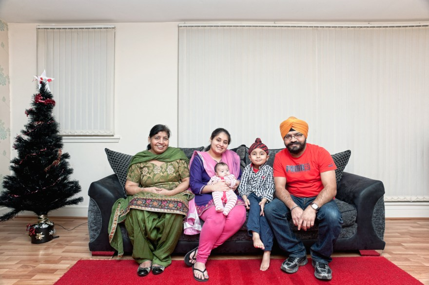 Sikh communities in Scotland have a long history, which is going back to the XIX century when first Sikh families arrived here from India. Scottish Sikhs have their own tartan and can be seen wearing kilts made it from this material on special occasions. This portrait shows a family, which represent a more recent arrival of Sikh community members to Scotland. Gurinder and his wife Harpreet came to Scotland from New Delhi where their son Brahmjot was born as well. Their youngest baby, daughter Siaana was born in Edinburgh and I was also lucky to met Gurinder's mother Balbir who comes to Scotland every few months to visit and help her son and his wife with raising the family. All of them are very attached to their religion which playing an important role in holding a community together but this doesn't stop them from adapting some local customs like a Christmas tree for example. We were chatting over a Indian chai and Bombay mix and by the end of the day I was showed around Sikh temple in Edinburgh.