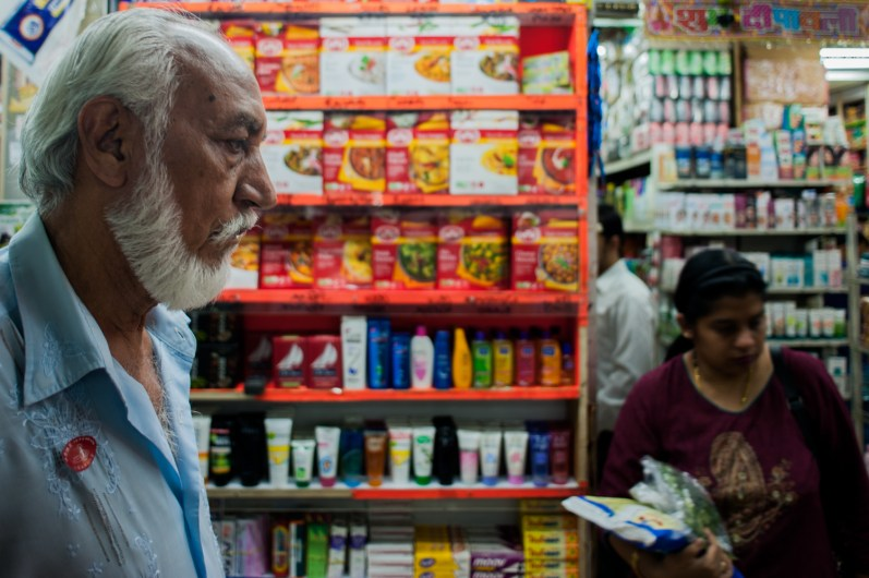 Darham Singh's family owns several businesses in Chungking Mansions. Along with this Indian grocery store, they run a guesthouse and a shop that sells Chinese-made garments wholesale.