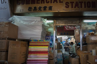 A stationary store in Chungking Mansions which has looked the same for over 40 years, according to its owner. The building is full of stores and restaurants frozen in a previous era, offering glimpses of a very different Hong Kong.
