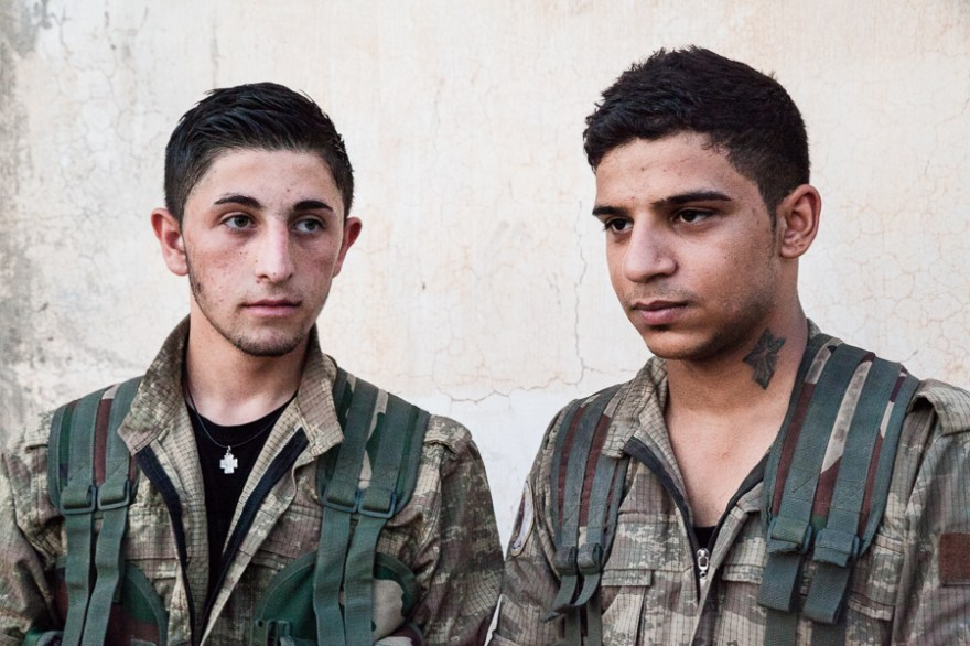 Syriac army. Frontline, South of Tirbespiyeh, Syria, June 2014
