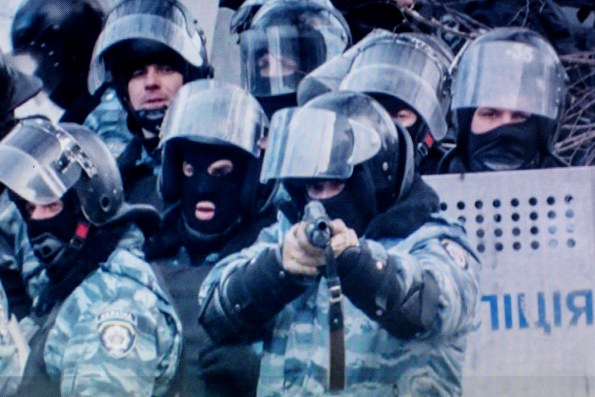 One of the last pictures taken by Volodimir, amateur photographer, at Maidan. The Berkut unit member was close to pulling the trigger.