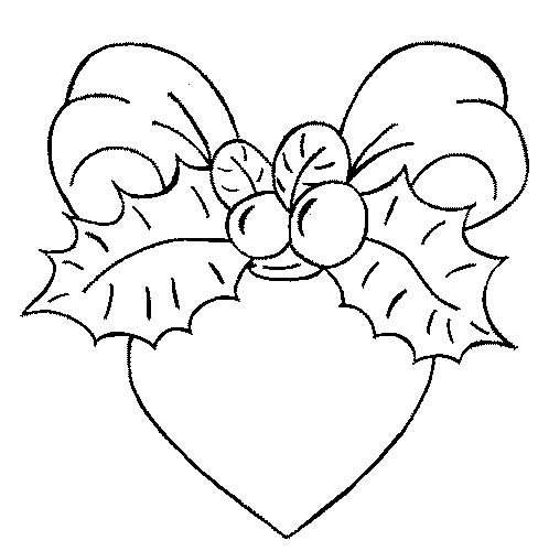 Disegno da colorare cuore addobbato