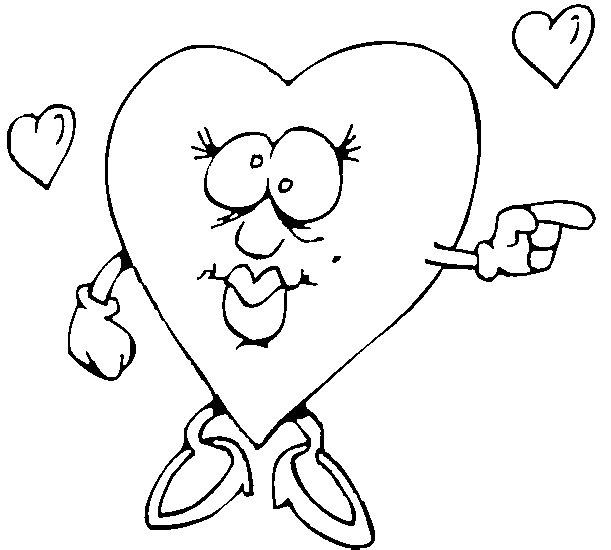 Disegno da colorare cuore rimbambito di amore