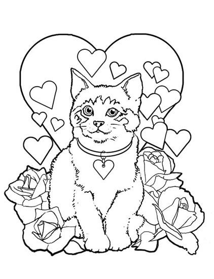 Disegno da colorare gattino innamorato