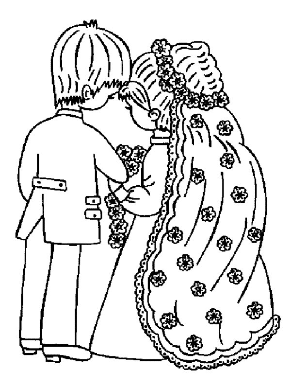 Disegno da colorare piccoli sposini innamorati