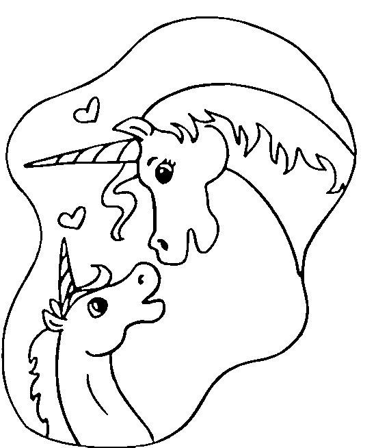 Disegno da colorare sguardo tra unicorni
