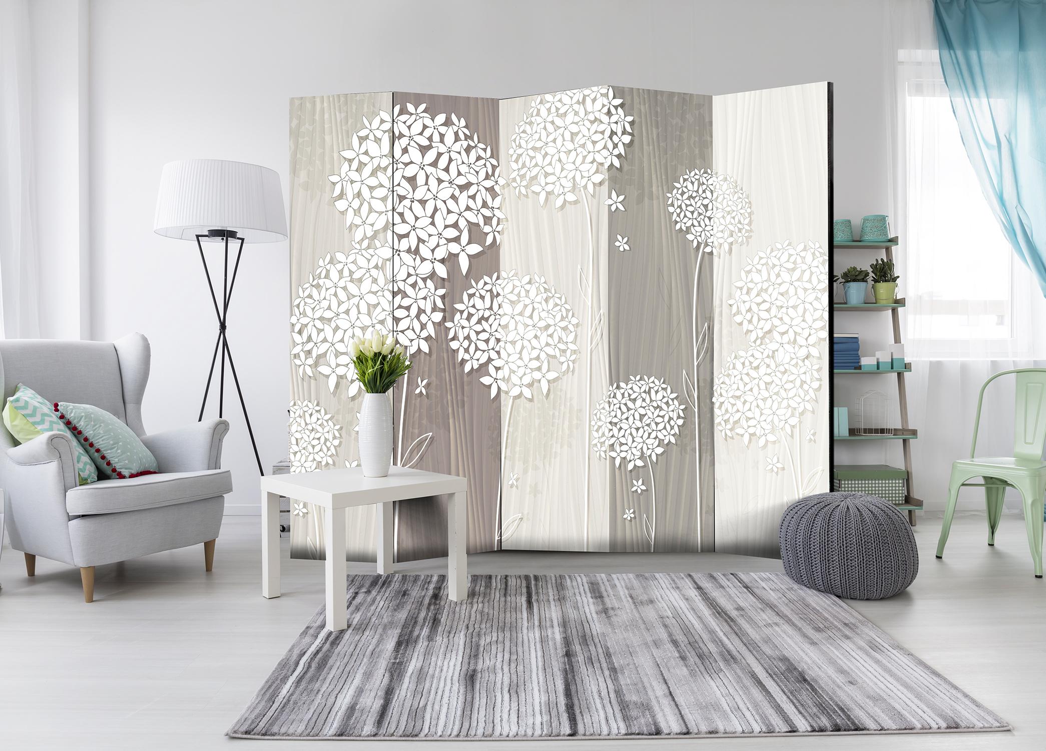 Deko Paravent Raumteiler Trennwand Spanische Wand Blumen Holz Optik 2 Formate  eBay