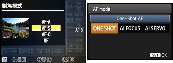Nikon AF-S / Canon One Shot