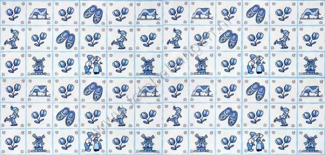Vlies fotobehang Delfts blauwe tegels  Fotobehangennl