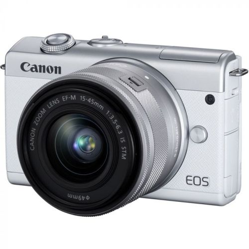 Canon EOS M200 Mirrorless Camera with 15-45mm IS STM Lens (White)