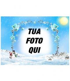 Modello  cornice di un paesaggio innevato con un quadro da rami di fiori  Fotoeffetti