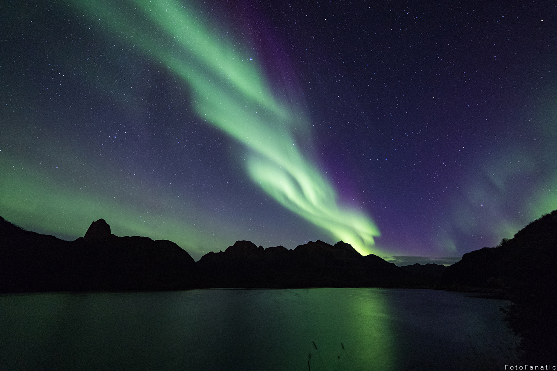 Bjørndalsfjorden lake Sortland Aurora Borealis