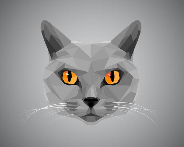 Grey cat with orange eyes - polygonal style.
