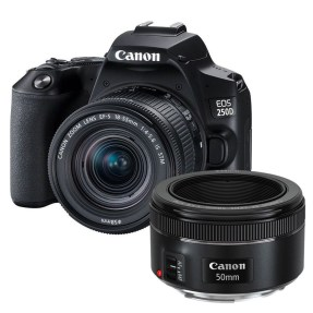 Canon EOS 250D zwart + 18-55mm iS STM COMPACT + EF 50mm F/1.8 STM