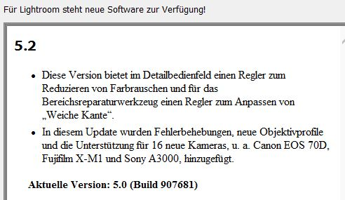 Adobe Lightroom 5.2 Update
