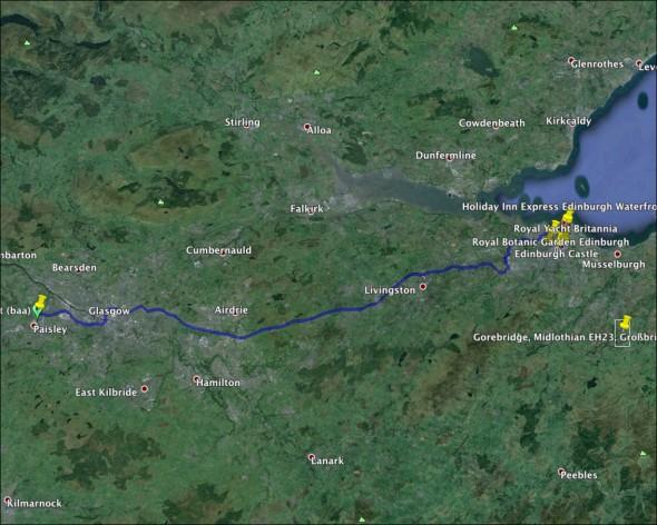 Schottland Karte - Tag 1
