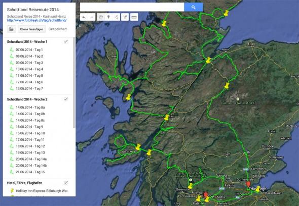 Detaillierte Reiseroute unserer Schottland 2014 Reise