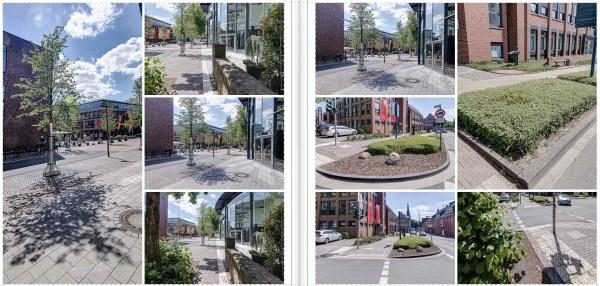 Collage von Fotos aus Fußgängerzone mit Grün und Verkehrsfläche.