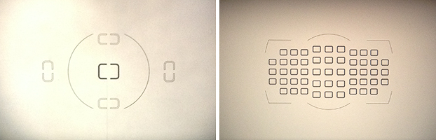 het aantal scherpstelpunten verschilt per camera